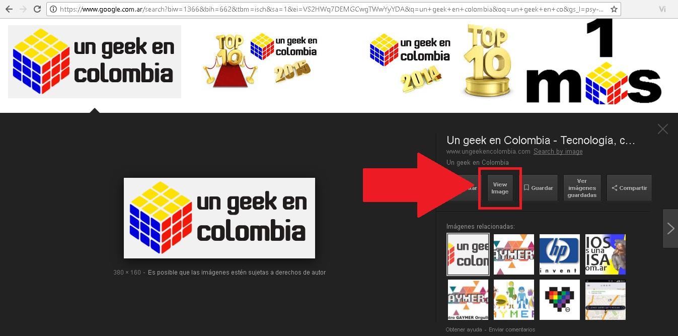 """botón de """"ver imagen"""" de Google Imágenes"""